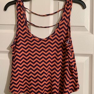 Coral and purple chevron print crop tank